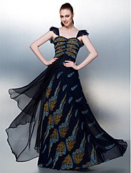 TS Couture Prom Dress - Pattern Dress A-line Straps Floor-length Chiffon with Criss Cross