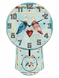 Modern Bird And Heart Pattern Wooden Round Wall Clock