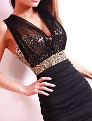 Women's Sexty Party Hollow Out Pencil Halter Black Dresses