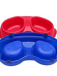 skid arc fournitures pour animaux de compagnie bol plastique bols doubles pour chiens de compagnie (couleur aléatoire)