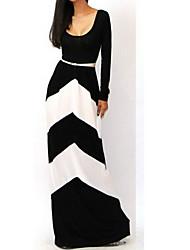 rayures géométriques de la robe maxi de blouse de taylor femmes