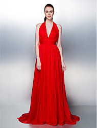 TS Couture® Formal Evening Dress Plus Size / Petite A-line / Princess Halter Court Train Chiffon with Draping / Criss Cross