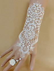 Fashion White Lace Vintage Hallow  Flower Bracelet Ring Set