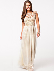 Kaman Women's Sexy/Beach/Lace Bateau Sleeveless Dresses (Chiffon/Lace)