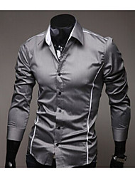 Laidy Men's Shirt Collar Casual Shirts , Cotton Blend Long Sleeve Bodycon/Casual/Work Laidy