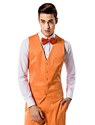 Orange Solid Tailored Fit Vest In Polyester
