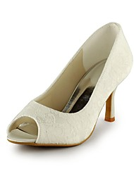 Women's Shoes Lace Spring / Summer / Fall Heels / Peep Toe Wedding / Party & Evening Stiletto Heel Ivory / White