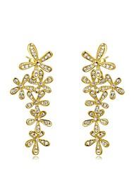 mode roxi cinq fleurs délicates boucles d'oreilles en cristal autrichien goutte d'or en alliage de zircon boucle d'oreille des femmes (1 paire)