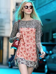 Women's Print Black/Orange Dress , Casual Round Neck Long Sleeve