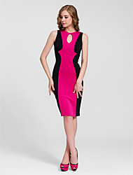 Cocktail Party Dress - Fuchsia Sheath/Column Jewel Knee-length Cotton