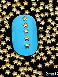 100pcs 3 milímetros * 3 milímetros de ouro estrela de metal rebite nail art decoração