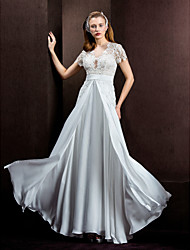 LAN TING BRIDE A-line Princess Wedding Dress See-Through Floor-length Jewel Lace Satin Chiffon with Lace Sash / Ribbon