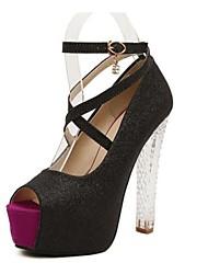 zapatos de las mujeres peep toe bombas de la plataforma del talón grueso zapatos más colores disponibles