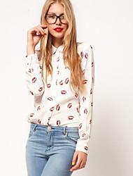 vintage camisa de manga longa é uma mulher