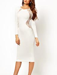sans dossier solide de couleur de la robe à manches longues des femmes HotGirl