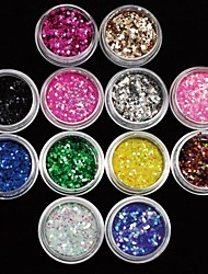 12Pcs Colors 2MM Acrylic Paillette Nail Art Decoration