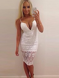 Women's Sexy / Lace Solid / Lace Sheath Dress , Deep V / Strap Knee-length Polyester / Lace
