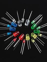 100pcs diodo emissor de luz led3mm 5 milímetros vermelho verde amarelo azul branco