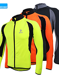 Arsuxeo Cycling Jacket Men's Long Sleeve Bike Jersey Tops Thermal / Warm Quick Dry Anatomic Design Fleece Lining Front Zipper Breathable