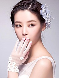 Ivory Tulle Wrist Length Fingertips Wedding Gloves with Tiny Flowers ASG33