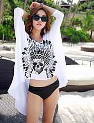 Women's Fashion Sexy White Cotton Black Skull Sun Prevention Beach Cover-up