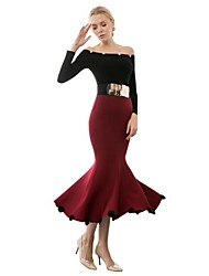 Women's Vintage Bodycon/Party Midi Skirts , Cotton Stretchy Red/Black