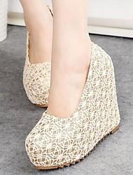 zapatos de las mujeres de las bombas del dedo del pie plataforma de tacón de cuña redonda zapatos más colores disponibles