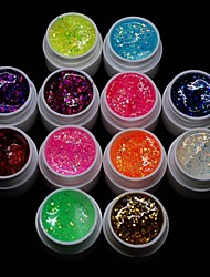 Cheapest 12PCS Mixs Color Glitter Sequins UV Color Gel for Manicure Nail Tips