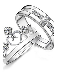 925 Couples' Silver Rhinestone Crown Rings (2 pcs)