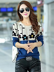 Женский свитер из трикотажа, с круглым воротом
