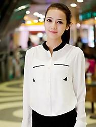 contraste de cor camisa de manga comprida chiffon estande pescoço de Lara mulheres