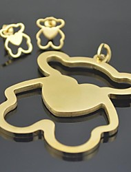 Toonykelly Love Heart Honey Stainless Steel Animal Bear(Pandeant with Earring Stud)Jewelry Set