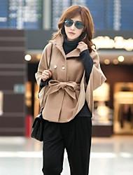 stand de couleur unie batte de collier manteau Bouton de klaxon de manchon de manteau de femmes