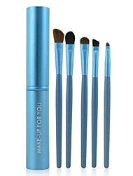 Make-up For You® 5pcs Makeup Brushes set Pony/Horse Hair  Limits bacteria/Portable Blue Brush Makeup Kit Cosmetic Brushes Tool set