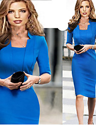 Women's Cotton Blend Sexy/Bodycon/Party ½ Length Sleeve VICONE