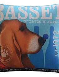 basset padrão cão algodão / fronha decorativo linho