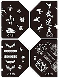 1pc nouveau design ongles estampage plaques d'image Suki plaque frenchy pour ongles diy art décorations (motif assortis)