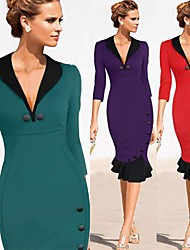 Women's Dresses , Cotton Blend Vintage/Sexy/Bodycon/Casual/Party/Work ¾ Sleeve VICONE