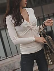ocasional v escote bodycon giro camiseta de las mujeres