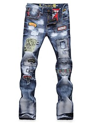 Men's Fashion Patchwork Badge Denim Jeans