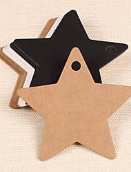 Star Kraft Paper Hang Tags Lables for Bookmark Gift Bakery Favors Wedding Party Price Cards Set of 50(More Colors)
