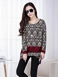TS Women's Simplicity Casual Print Bodycon Shirt