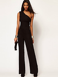 Mikasha Women's Sexy Fitted One Shoulder  Jumpsuit