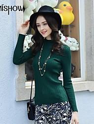 collier de stand-up solide couleur design moulante à manches longues taille libre chandail mince de mishow®women