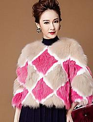 abrigo de piel de zorro 3/4 manga de descubierta piel ocasión especial / abrigo de piel informal (más colores)