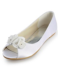 Women's Wedding Shoes Peep Toe Flats Wedding/Party & Evening Ivory/White