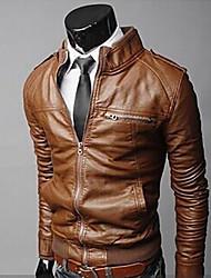 lazer moda blusa de couro pu homens