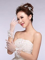 Ivory Tulle Fingertips Wrist Length Wedding Gloves with Bow with Lace Trim ASG18
