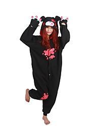 Kigurumi Pyjamas Bär / Waschbär Gymnastikanzug/Einteiler Fest/Feiertage Tiernachtwäsche Halloween Schwarz Patchwork Polar-Fleece Kigurumi