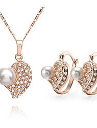 Z&X® European Style 18K Gold Plated Pearl Necklace Earrings Jewelry Set (1 set)